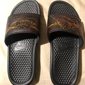 New! Custom painted Nike slides. Comes with box